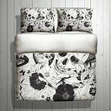 fleece skull bedding black white skull duvet with large flower print skull bed linen skull bedding skull duvet cover queen