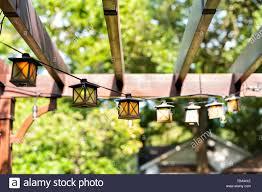 Gazebo Canopy Lights Closeup Of Patio Outdoor Spring Garden In Backyard Of Home