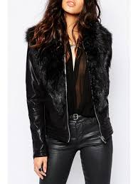 chic large faux fur collar pu leather jacket black s
