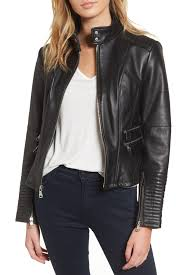 image of vince camuto double zip leather moto jacket