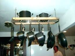 ceiling mounted pot rack hanging ideas to hang pots and pans wall low hanger holder wooden ceiling mounted pot rack
