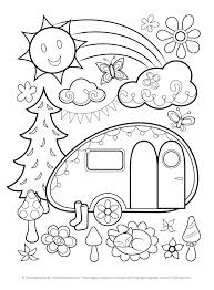 Camper Trailer Coloring Pages X Camping Trailer Coloring Pages