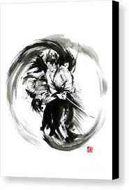 mariusz szt canvas print featuring the painting aikido techniques martial arts sumi e black white