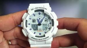 white casio g shock ga100a 7a ana digi watch