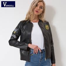 Vangull Leather jacket <b>New women Autumn Winter</b> Faux Leather ...