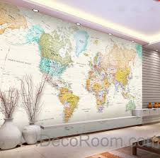 Small Picture Colorful HD World Map Wallpaper Wall Decals Wall Art Print Mural