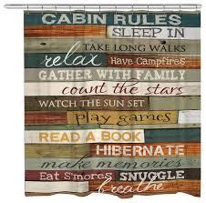 cabin rules shower curtain