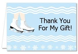 snowflake thank you cards birthday party thank you cards ice skating with snowflakes thank