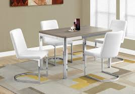 dining table 32 x 48 dark taupe chrome metal dining chair 4pcs 34 h white leather look chrome