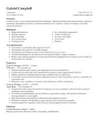 General Manager Resume Template Restaurant General Manager Resume