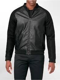 black leather er jackets calvin klein ck one ultra slim fit wool faux leather zip detail er jacket