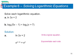 11 example 6 solving logarithmic equations solve each logarithmic equation