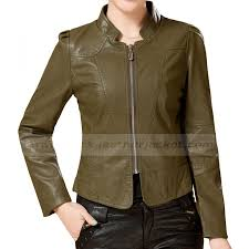 army green leather jacket