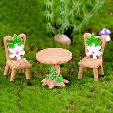 resin craft table chair miniature fairy garden supplies fairy furniture micro landscape ornament for bonsai decoration