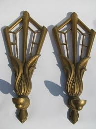 on vintage metal wall art gold with art deco gold fan candle sconces pair vintage metal wall candleholders