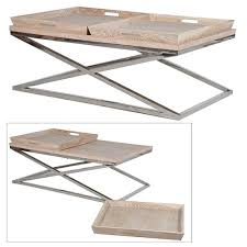 oak and steel coffee table with trays