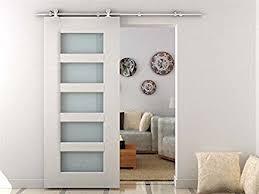 amazon hom modern 6 6 interior sliding barn door kit hardware set stainless steel home improvement