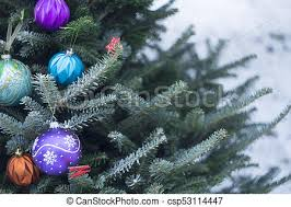 Decorating Christmas Tree With Balls Delectable A Decorated Christmas Tree Outside An Outside Christmas Tree