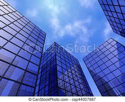 office glass windows. Buildings Office Finance Tower Glass Windows Mirrors Blue 3d Illustration D