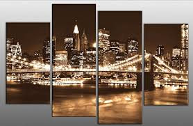 large brown sepia new york skyline canvas picture 4 pieces multi panel split canvas completely ready to hang hanging template included for easy hanging  on sepia canvas wall art with large brown sepia new york skyline canvas picture 4 pieces multi