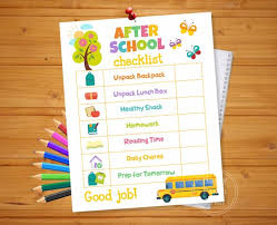 Printable Office Supply List Adorable AFTER SCHOOL CHECKLIST Printable After School Routine Etsy