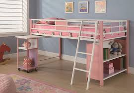 Bedroom:Cute Pink Kids Bed With Bunk Bed Style With White Ladders And  Completed With