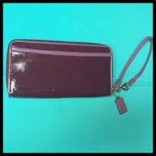 ... Coach Bags - COACH Poppy Patent Leather Purple Wristlet Wallet ...