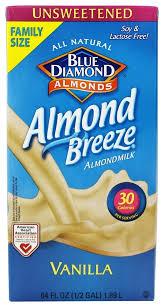 blue diamond growers almond breeze almond milk unsweetened vanilla 0 5 gallon at luckyvitamin
