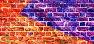 ink art color splicing brick wall