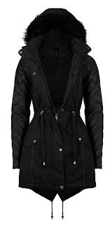 womens quilted winter coat padded fur soul parka