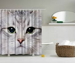 Amazon.com: Cat Shower Curtain by Ambesonne Decorations Gray Cute ...