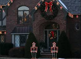 large outdoor lighted wreaths this beautiful wreath is integrated into this traditional lighting display home interior design app