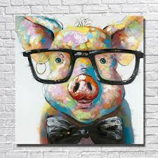 2018 modern canvas art hand made pig with glasses oil painting wall art home decorative modern living room wall pictures 1 peices no framed from  on pig canvas wall art with 2018 modern canvas art hand made pig with glasses oil painting wall