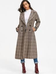 women s double ted plaid trench coat khaki grey xl