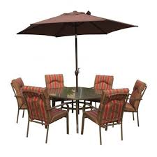 royalcraft amalfi 6 seater hexagonal dining set with brown parasol