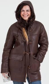 women s brown shearling sheepskin duffle coat daria
