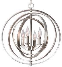 4 light sphere orb chandelier brushed nickel