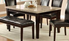 Hahn Dining Table Ivory Marble Top Dark Brown Genuine Marble Top