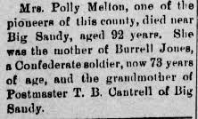 "Mary ""Polly"" Brewer Melton (1820-1912) - Find A Grave Memorial"