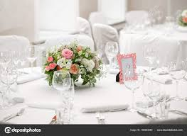 table setting festive round tables ready for guests stock photo