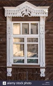 Eine Alte Holz Fenster Auf Eine Wand Dekoration Mit Geschnitzten