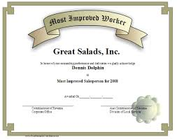 Most Improved Worker Certificate Printable Certificate