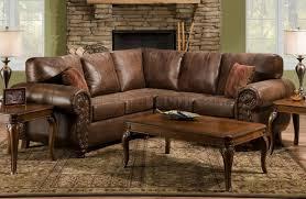 Brown Smokey Leather Like Microfiber Classic Sectional Sofa in Traditional  Leather Sectional Sofas (Image 4