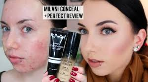 new milani conceal perfect 2 in 1 foundation first impression review demo pale acne e skin you