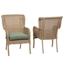 wicker patio dining chairs. Simple Wicker Hampton Bay Lemon Grove Stationary Wicker Outdoor Dining Chair With Surplus  Cushion 2Pack Throughout Patio Chairs