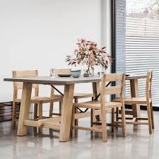 Verita Trestle Dining Table Oak Concrete Oak Dining Furniture