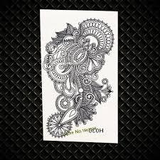 большой размер индийский менди временные татуировки цветок черные чернила