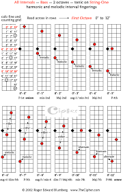 Guitar Intervals Chart All Intervals On The Bass Fretboard Cipher Demonstrations