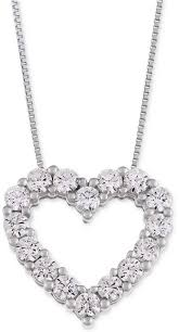 macy s star signature diamond heart pendant necklace 1 ct t w in 14k gold or white gold style