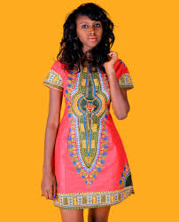 African Pattern Dress Cool Dashiki African Print Dress Pink Green RuvaAfricWear